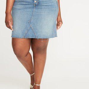 NWT High-waisted button fly denim jean skirt plus